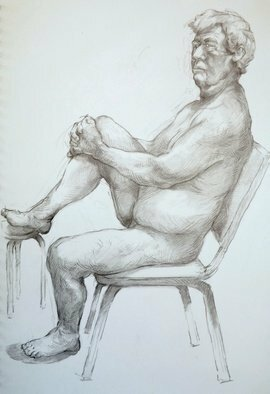 Austen Pinkerton: 'john seated number 8', 2019 Pencil Drawing, Life. Friday s production at the Life Drawing Group: Second. . . . John, seated  No. 8    21 x 3,0 cm, Pencil and blender.  ...