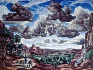 Austen Pinkerton: 'landscape with robot and dogs', 1983 Acrylic Painting, Landscape. Artist Description: robot cripple dogs landscape clouds science fiction...