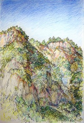 Austen Pinkerton: 'river cliffs at dalyan', 2019 Crayon Drawing, Landscape. Here s the second larger work from our Turkey holiday.  River Cliffs at Dalyan , 21 x 30 cm, Aquarelle Crayon  partly used as wash , and Ink. The river cliffs overlook the hotel, and change colour throughout the day. ...