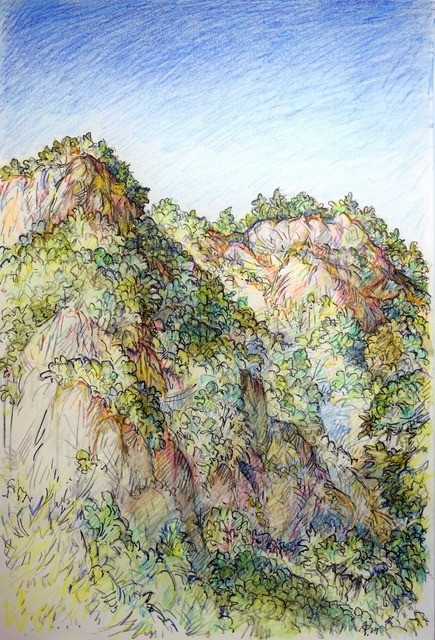 Austen Pinkerton  'River Cliffs At Dalyan', created in 2019, Original Painting Ink.