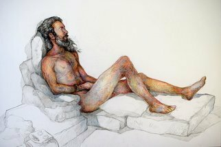 Austen Pinkerton: 'sean number two', 2020 Crayon Drawing, Life. Second life drawing of Sean of the long hair, completed in two four hour sessions. ...