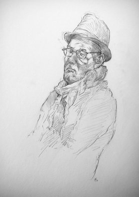 Austen Pinkerton: 'simon with hat', 2019 Graphite Drawing, Portrait.