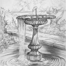 the fountain at picton castle  By Austen Pinkerton