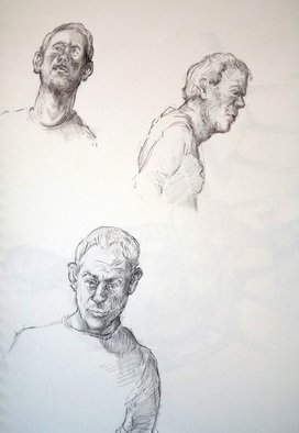 Austen Pinkerton: 'three studies of indigo', 2019 Graphite Drawing, Life. Last Friday s  10th November  work at the Narberth Life Drawing Group: First. . . . Three ten minute studies of Indigo , 21 x 3,0 cm, Pencil and blender. ...