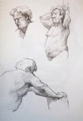 Austen Pinkerton: 'three studies of john', 2019 Pencil Drawing, Life. Friday s production at the Life Drawing Group: First. . . . Three ten minute studies of John , 21 x 3,0 cm, Pencil and blender....