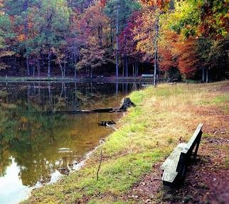 B A Autery: 'bench in autumn colors', 2019 Color Photograph, Landscape. Artist Description: This photograph captures the lonely but peaceful bench facing a crystal clear water pond in beautiful autumn colors setting deep within the forest. ...