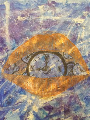Avery Bradshaw: 'what time is it', 2014 Mixed Media, Abstract. Artist Description: Acrylic Paint and Colored Pencil on Paper...