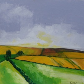 Avril Ward: 'In the country I', 2011 Other Painting, Landscape. Artist Description:  mixed media , triptych...