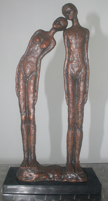 Bronze Sculpture by Avril Ward titled: LEAN ON ME, 2014