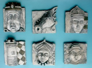 Avril Ward: 'The Chessmen', 2014 Handbuilt Ceramics, Other.           The set CHESSMEN. Hand colored/ metal leaf,  ceramic. Sold as a set.          ...