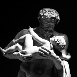 Alessandro Zanazzo: 'silenio con dioniso', 1990 Black and White Photograph, Mythology. Artist Description: From an original black and white negative film. Picture taken at the vatican Museums in Rome, Italy. This image shows the light shining from the new born Dionysus.Limited edition print , 1 10. Signed on the back. Handmade print on black and white paper. Available on several different ...