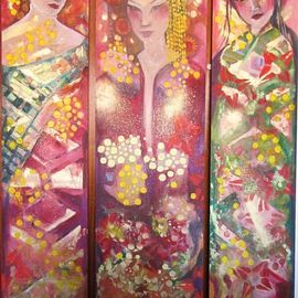 Suzette Dyson: 'eastern bliss', 2018 Acrylic Painting, Abstract Figurative. Artist Description: triptych of three long panels, very bright and expressive, painterlyacrylic on board, boxed for presentation...