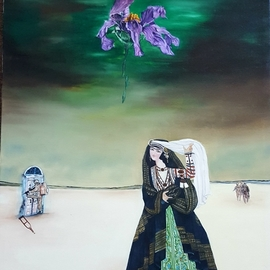 Aziz Anzabi: 'dejavu', 2017 Oil Painting, Surrealism. Artist Description: The painting dA(c)jA  vu created by Aziz Anzabi is part of the vulnerable series which explains war and its effects. The near dried flower shows how the war affects people and the destruction it brings. The dark colours used in the painting all reflect how war destroys ...