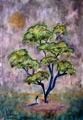Bacho Gogolashvili: 'the tree of knowledge', 2018 Watercolor, Spiritual. Artist Description: The symbol of the tree of knowledge that is described in the Bible is the source of inspiration for this watercolor painting.  ...