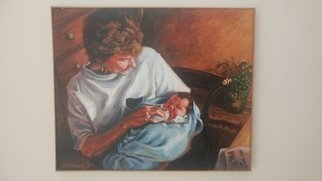 John Threadgill: 'nany', 2020 Acrylic Painting, Naturalism. Grandmother wit new grandaughter...