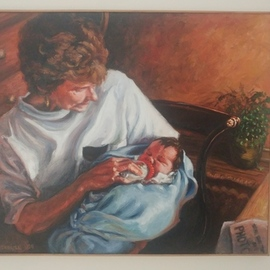 John Threadgill: 'nany', 2020 Acrylic Painting, Naturalism. Artist Description: Grandmother wit new grandaughter...