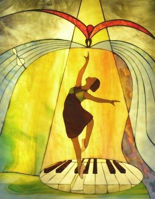 Stained Glass by Greg Gierlowski titled: Piano dance, created in 2007