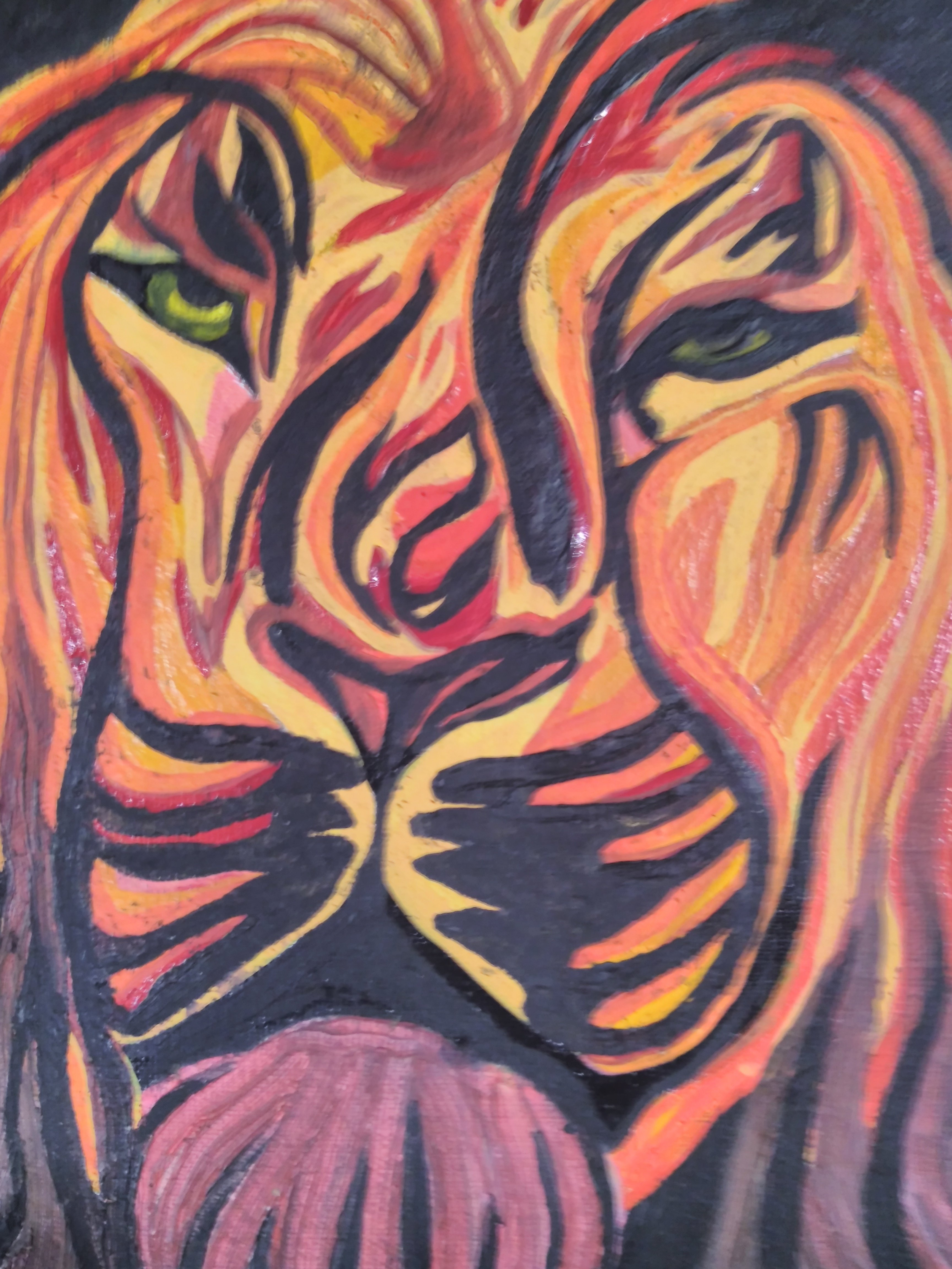 Bryan Davis: '30 shades of lion', 2019 Other Painting, Cats. I started with the idea of drawing a lion face.  It was so much fun painting it that I did not want to stop and kept adding more colors to the point that I had this lion with so many shades.  I had to paint it again on canvas using ...