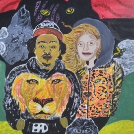 Bryan Davis: 'the king the queen the jungle', 2019 Acrylic Painting, Famous People. Artist Description: Beyonce and Jay Z was my inspiration for this peace.  I wanted to draw and paint not a mirror image, but with there likeness modeling clothes that I designed.  I used Acrylic paints. ...