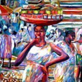 Ben Adedipe: 'Hawkers', 2013 Acrylic Painting, People. Artist Description:   African women, trader, market women     ...