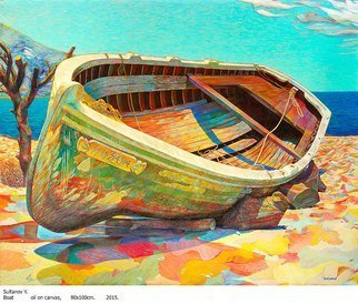 Yury Sultanov: 'boat   ', 2015 Oil Painting, .