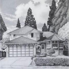 Gabriella Morrison: 'Campbell House', 2005 Pencil Drawing, Home. Artist Description: One of a series of drawings combining the tropes of Real Estate advertisement images and picturesque landscape - a study of suburban housing....