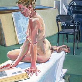 Gabriella Morrison: 'Monica Reading in the Studio', 2002 Oil Painting, nudes. Artist Description: A studio painting...