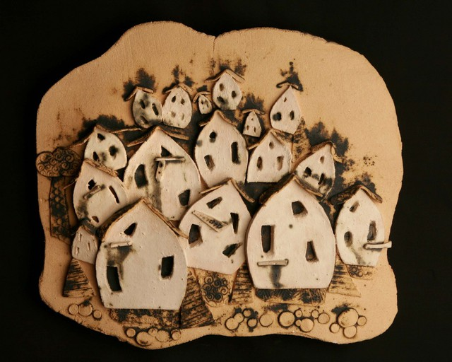 John Quinn  'The Village', created in 2010, Original Ceramics Handbuilt.