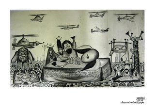 Landscape Charcoal Drawing by Balucharan Balucharan Title: untitled, created in 2012