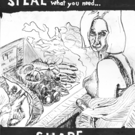 Chad A. Carino Artwork Steal What You Need, 2009 Pen Drawing, Food