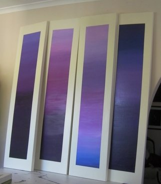 Susan Baquie: 'purple space', 2010 Acrylic Painting, Mythology. Artist Description: As part of a doctoral study into Janus and including the purple of kingship, these four paintings are meditative of time and space. Each measures 38 w x 152 h cm. ...