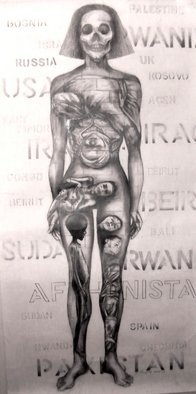 Susan Baquie: 'untitled', 2012 Pencil Drawing, War.  This began in response to war and to the terrible images of damaged children - as wars proceeded so did the names of the countries involved. ...