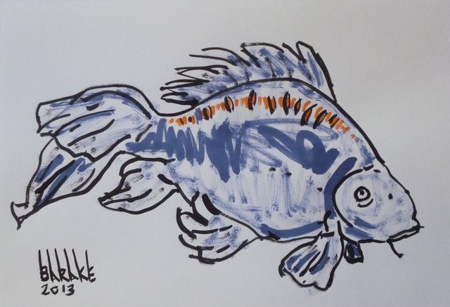 Claudio Barake  'CARP', created in 2008, Original Watercolor.