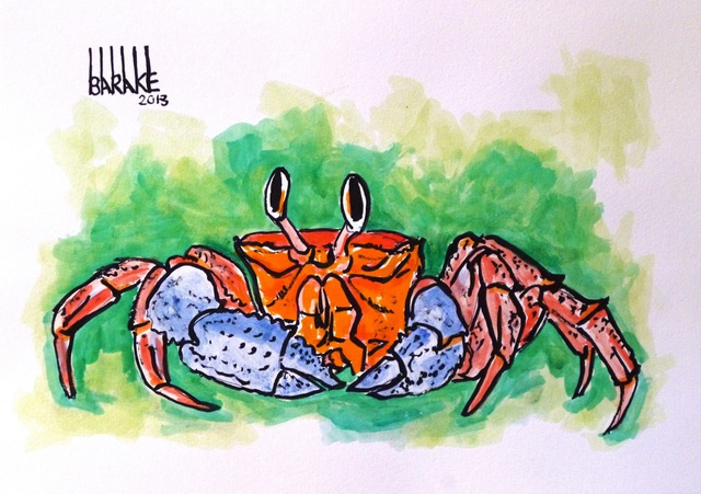 Claudio Barake  'CRAB', created in 2008, Original Watercolor.