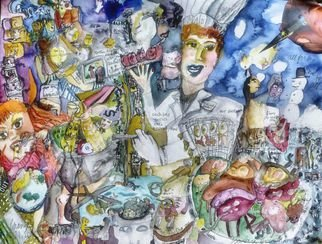 Barb Mann: 'GMO food Technician', 2014 Watercolor, Political.  Yes I'll feed the entire planet. No soil, no water, no color , no taste, what you don' t like that? I don' t care. ...