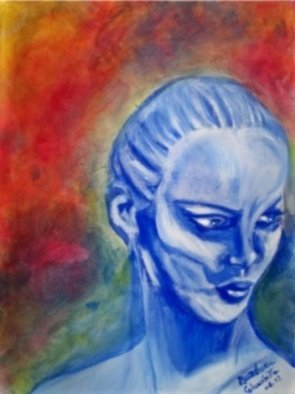 Artist: Barbara Calascibetta Di S. Nicol� E Calascibetta - Title: Expression of  a Woman  - Medium: Acrylic Painting - Year: 2012