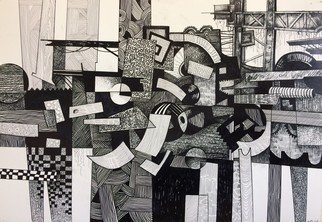 Otar Chakvetadze: 'construction', 2019 Ink Painting, Abstract Figurative.