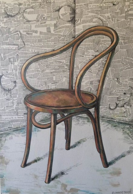Otar Chakvetadze  'Michel Houellebecqs Chair', created in 2019, Original Drawing Marker.