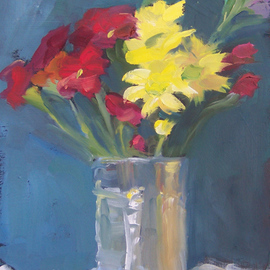 Susan Barnes: 'Flowers in Can', 2009 Oil Painting, Still Life.