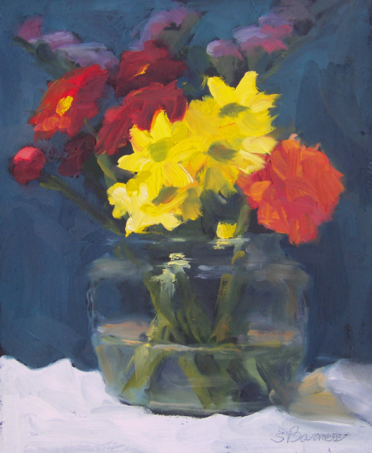 Susan Barnes  'Flowers In Glass', created in 2009, Original Painting Oil.
