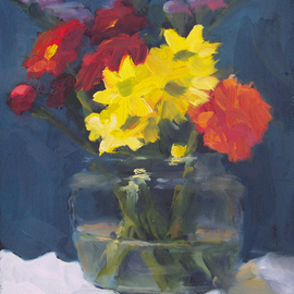 Susan Barnes: 'Flowers in Glass', 2009 Oil Painting, Still Life.