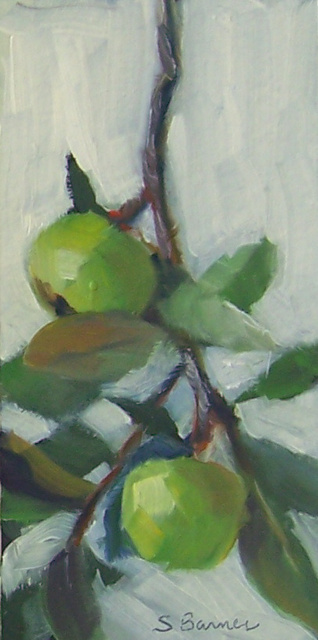 Susan Barnes  'Little Green Apples', created in 2008, Original Painting Oil.