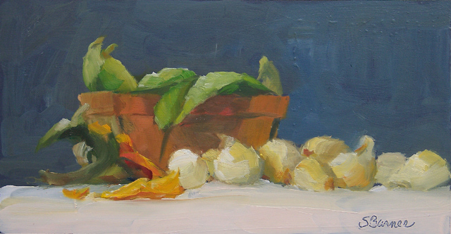 Artist Susan Barnes. 'Peas And Onions' Artwork Image, Created in 2008, Original Painting Oil. #art #artist