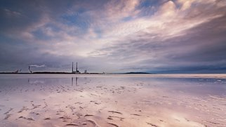 Barry Hurley: 'dublin bay a new day', 2018 Color Photograph, Seascape. Artist Description: A new day beaks over Dublin Bay. A pink and purple sky surround the iconic Dublin Towers. This is James Joyce country. ...