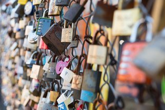 Barry Hurley: 'love locks', 2018 Color Photograph, Urban. Artist Description: The love locks of the East End of London. A fence full of dreams and hopes. ...