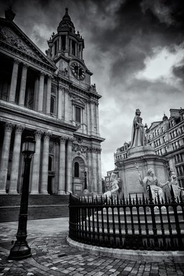 Barry Hurley: 'the lady of st pauls', 2018 Black and White Photograph, Landmarks. Artist Description: The Lady of St Paul. Queen Victoria standing over Sir Christoper Wren s finest monument. ...