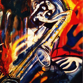 Barry Boobis: 'Dexter Gordon Blue Rainbow', 2011 Acrylic Painting, Music. Artist Description:  Jazz great Dexter Gordon intones the tenor sax in a jazz rainbow of expression filtered through the blues                        ...