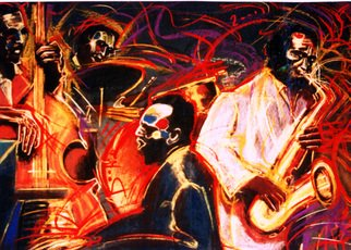 Barry Boobis Artwork New Orleans Quartet painting artwork, 2011 Giclee - Open Edition, Music