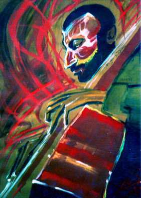 Artist: Barry Boobis - Title: Ron Carter painting artwork Bassman - Medium: Watercolor - Year: 2011