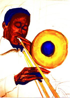 Artist: Barry Boobis - Title: Trombone painting artwork - Medium: Watercolor - Year: 2011